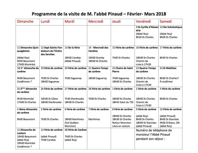Programe de l'Abbé Pinaud