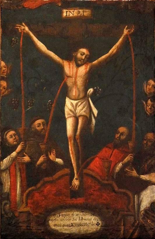 Preciosisima sangre de Cristo, Anonimo, Oleo sobre tela, 40 X 26 cms, Siglo XVII- XVIII
