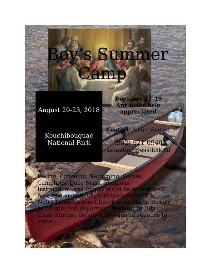 2018 OLJM Boy's Summer Camp Flyer
