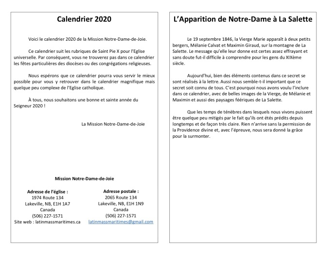 Calendrier 2020 - Version 2 copie